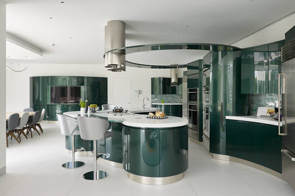curved kitchen, curved kitchen designs, curved shaped kitchens